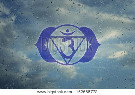 Ajna chakra symbol. Poster for yoga class with a clouds view.