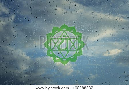 Anahata chakra symbol. Poster for yoga class with a clouds view.
