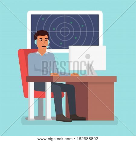 Emergency call center online support. Phone operator. Flat design vector illustration