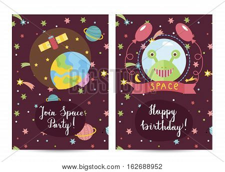 Happy birthday cartoon greeting card on space theme. Earth surrounded stars, planets, satellite, green alien smiling face in helmet with balloons vector. Bright invitation on childrens costumed party
