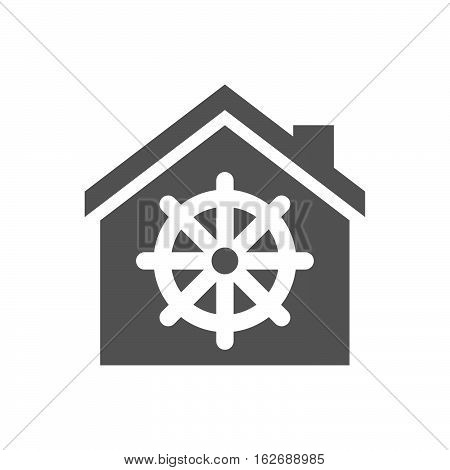 Isolated House With A Dharma Chakra Sign