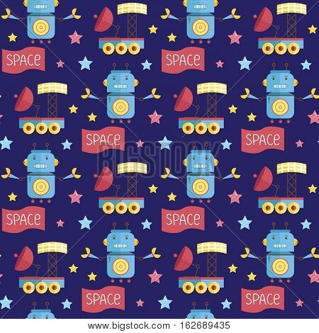 Space invaders cartoon seamless pattern. Stars, angry robot with antennas and claws, exploration rover with solar panel and parabolic antenna on blue background vector illustrations. For greeting card