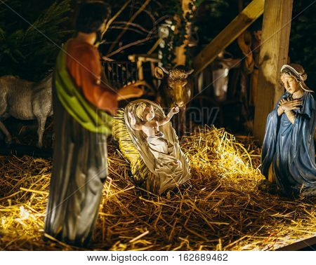 Strasbourg, France - Dec 20, 2016: Nativity scene statues during Christmas Market in Strasbourg France with Jesus Mary and Joseph