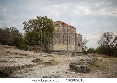 Cave city Chufut-Kale. Mausoleum Janicke Khanum of the XV century. Bakhchisaray. Crimea.