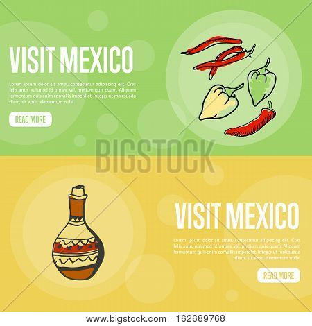 Visit Mexico banners. Chilli peppers, jug of tequila hand drawn vector illustrations on national colors backgrounds.