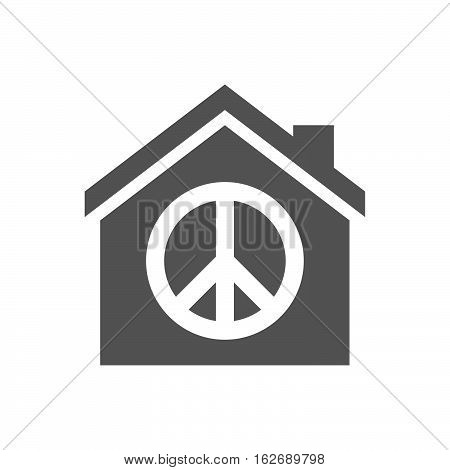 Isolated House With A Peace Sign