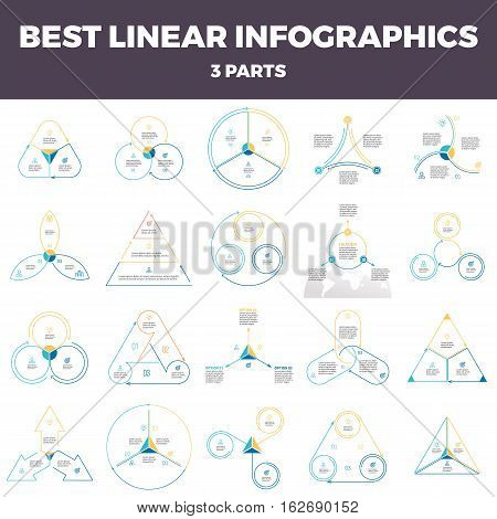 Business infographics. Linear infographic elements, circles, triangles, pyramids, arrows with 3 steps, options, parts. Outline vector pie charts.