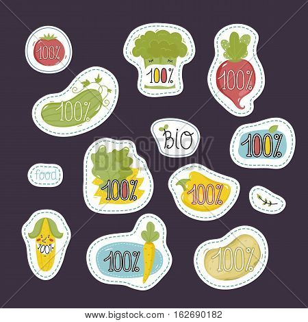 Eco and bio food labels set isolated on perpl background. Natural products stickers with fruit and vegetables cartoon characters for organic shop, vegan cafe, restaurant, eco bar. Healthy farm food. Organic food logo. Farm food icon.