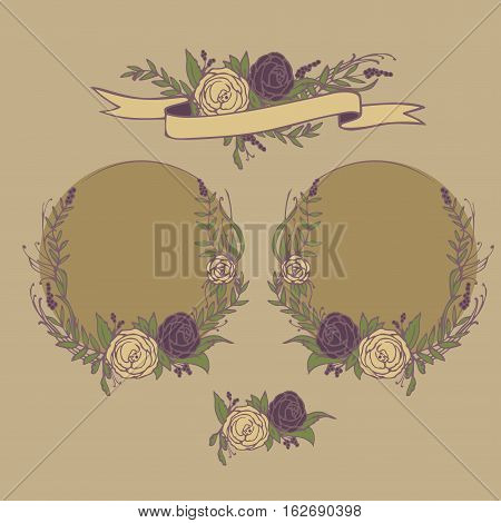 Floral wedding invitation, save the date. Flower vintage greeting card with laurel. Bride and groom getting married