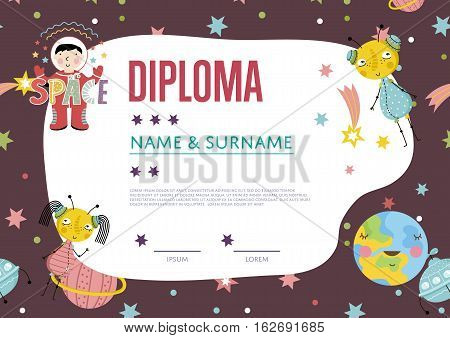 Diploma cartoon template. Spaceship, stars. planets, comets. For award for victory in scientific competition. Cartoon space diploma template. Kids diploma or kids certificate template. Design of cartoon diploma.
