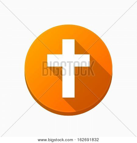 Isolated Button With A Christian Cross