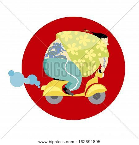vector illusration of fun vespa delivery man in asian style
