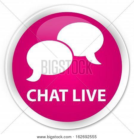 Chat Live Premium Pink Round Button