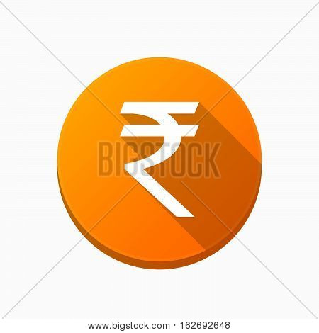 Isolated Button With A Rupee Sign
