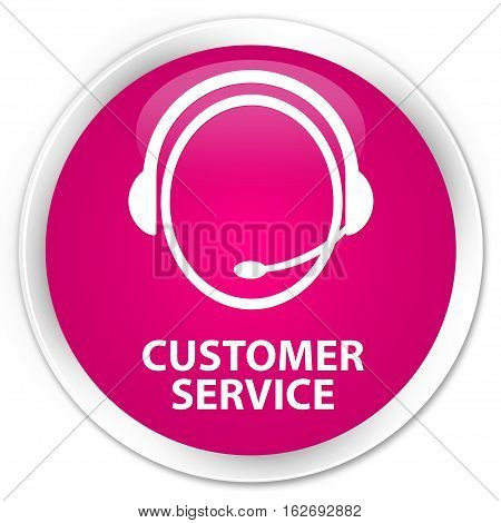 Customer Service (customer Care Icon) Premium Pink Round Button