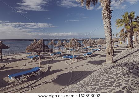 Los Cristianos Beach In The Island Of Tenerife