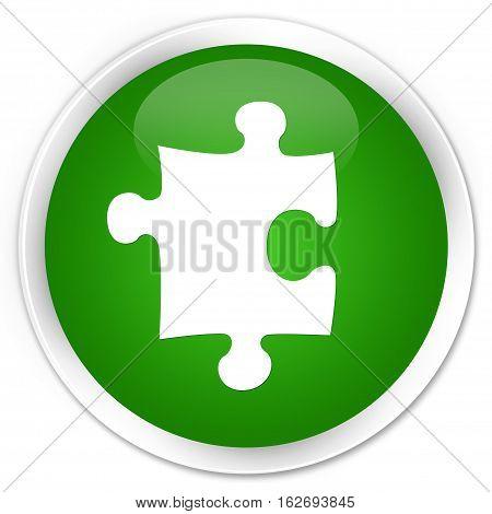 Puzzle Icon Premium Green Round Button