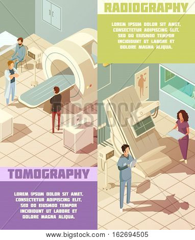 Isometric vertical hospital banners set with tomography and radiography equipment isolated vector illustration