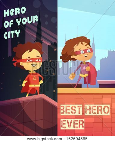 Two urban vertical banners with happy kids dressed in superhero costumes and standing on roof of skyscraper flat vector illustration