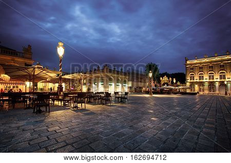 Evening scene on the Place Stanislas in Nancy city