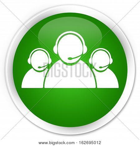 Customer Care Team Icon Premium Green Round Button