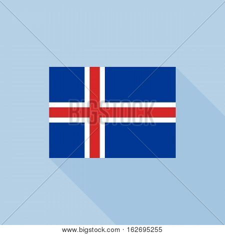 Iceland flag , flat design vector with official proportion