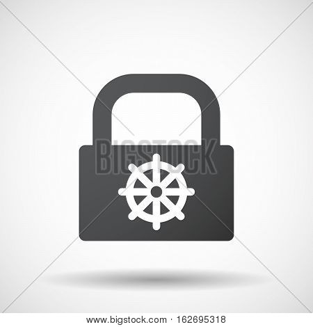 Isolated Lock Pad With A Dharma Chakra Sign