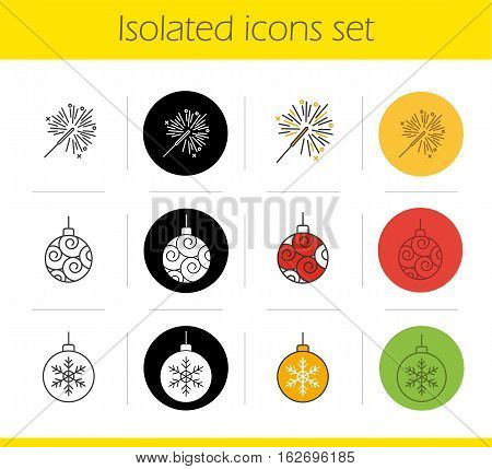 Christmas and New Year icons set. Linear, black and color styles. Sparkler and Xmas tree balls. Isolated vector illustrations