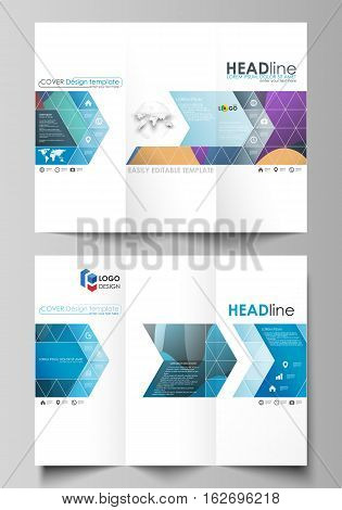 Tri-fold brochure business templates on both sides. Easy editable abstract layout in flat design, vector illustration. Bright color pattern, colorful design with overlapping shapes forming abstract beautiful background.