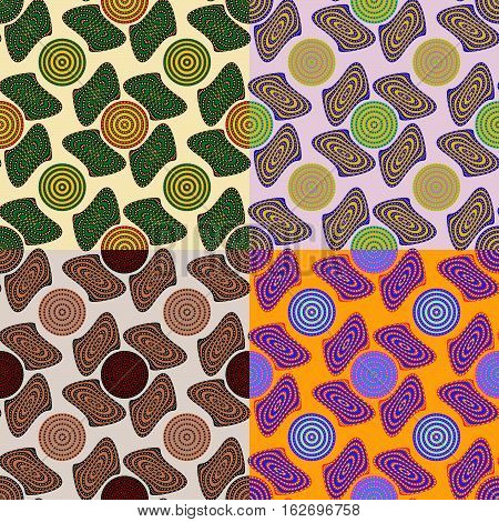 Set of abstract seamless patterns in four colors