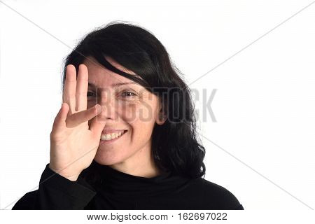 Woman making mockery on a white backrogund