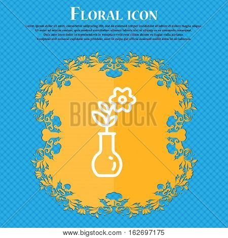 Flower In Vase Icon Sign. Floral Flat Design On A Blue Abstract Background With Place For Your Text.