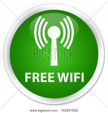 Free Wifi (wlan Network) Premium Green Round Button