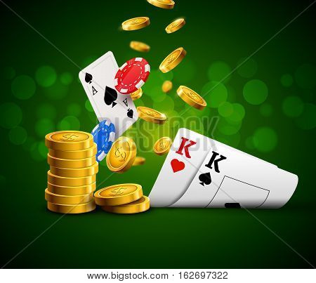 Poker chips casino green poster. Gamble cards and coins success winner royal casino background.