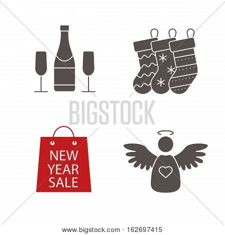 Christmas icons set. New Year silhouette symbols. Xmas gift socks, champagne bottle and glasses, shopping bag, angel. Vector isolated illustration