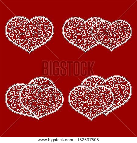Set of white hearts with a gentle, affectionate pattern in retro style