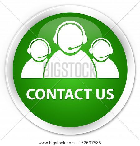 Contact Us (customer Care Team Icon) Premium Green Round Button