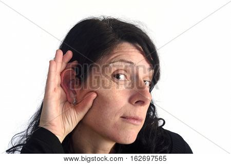 woman with deafness on a white color