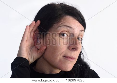 Man with deafness isolated on a white color