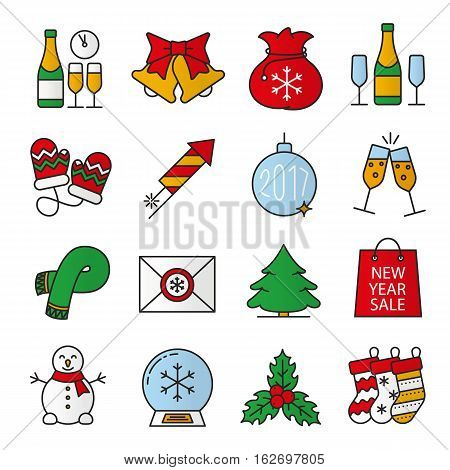 Christmas and New Year color icons set. Champagne, jingle bells, snowman, 2017 Xmas tree ball, firework, mittens, scarf, letter to Santa Claus, fir tree. Isolated vector illustrations