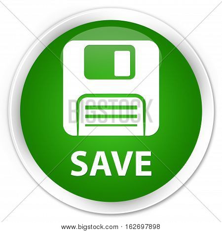 Save (floppy Disk Icon) Premium Green Round Button