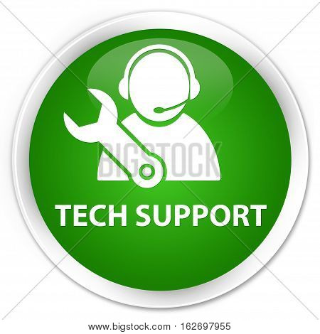 Tech Support Premium Green Round Button