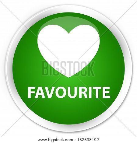 Favourite (heart Icon) Premium Green Round Button