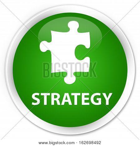 Strategy (puzzle Icon) Premium Green Round Button