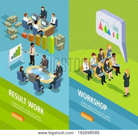 Business learning isometric vertical banners with place for staff coaching and teaching for work summary vector illustration