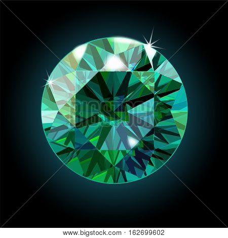 Brilliant emerald on a black background. Green crystal. Vector illustration