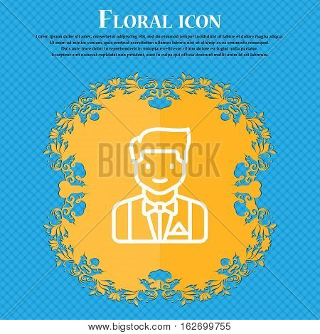 Butler Icon Sign. Floral Flat Design On A Blue Abstract Background With Place For Your Text. Vector
