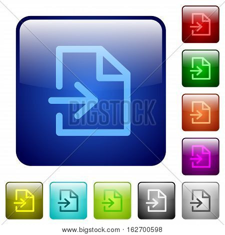 Import icons in rounded square color glossy button set