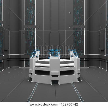 3D rendering. Futuristic interior. Projection. Hologram Control panel Future Center