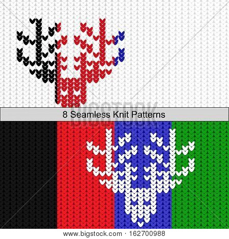 Seamless deer knit eight colors texture white bg and colored deers and colored bg and white deers